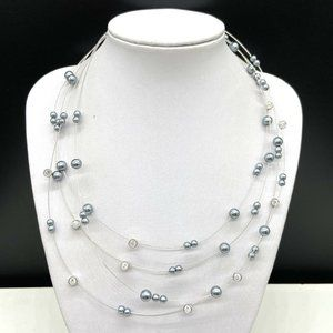 Nolan Miller Gray Faux Pearl Beaded Necklace